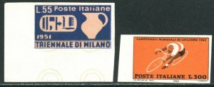 ITALY Sc#583 & 859 1951 & 1962 Rare Imperforate Proofs Mint No Gum NH
