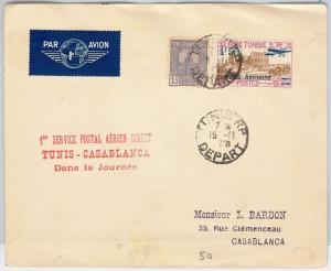 AIRMAIL 1st FLIGHT COVER - TUNISIA : Tunis / Casablanca 1938