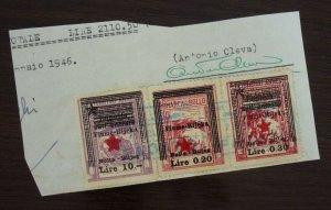 Fiume c1946 Croatia Italy Yugoslavia Revenue Stamps On Fragment  C7