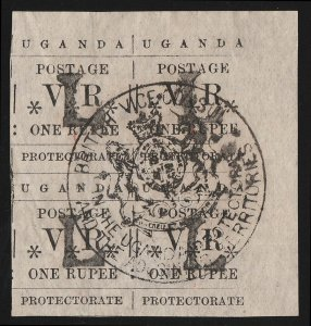 UGANDA : 1890 'L' Type-set 1R, block. Extremely rare & possibly unique multiple.