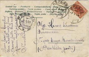 RUSSIA / ESTONIA - 1909 PPC from МЕРЬЯМА (MARYAMA) to РЕВЕЛЬ (REVEL = TALLINN)