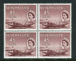 SEYCHELLES; 1954 early QEII issue fine Mint BLOCK of 45c. value