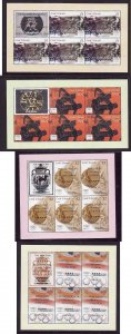 Cook Islands-Sc#1266-9-unused NH sheets of 5 with Gold Medal Winners overprinted