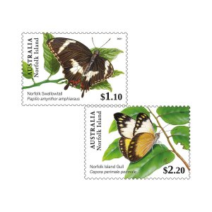 Stamps of Australia 2021- Set of Norfolk Island Butterflies Gummed Stamps.