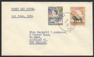 KENYA UGANDA TANGANYIKA 1954 QE 5c, 20c Lion FDC, KERICHO skeleton cds.....59435