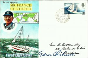 FDC 1967 First Single Handed Round The World Voyage Signed by Francis Chichester
