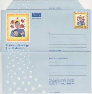 BARBADOS 65c Christmas aerogramme unused....................................L226