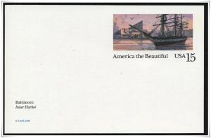 SC#UX136 15¢ Inner Harbor: Baltimore Postal Card Unused