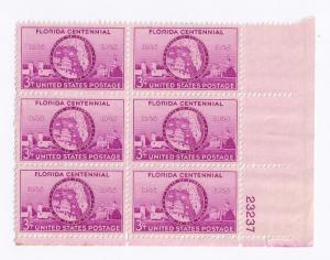 USA SC# 927 Plate Block of 6 Florida Statehood MNH LR 23237