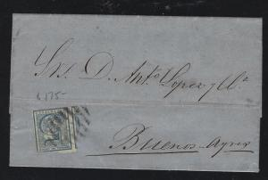 URUGUAY   (PP2604B)  1870 5C COVER MONTEVIDEO TO BUENOS AYRES