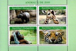 Madagascar 2019 Zoo Giraffes Tigers Rhinos Animals 4v MNH S/S. (#026)