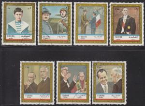 Fujeira Mi948-955 Hinged CTO Famous People, Charles DeGaulle