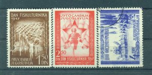 Yugoslavia  sc# 218-220 mh & used cat value $3.00