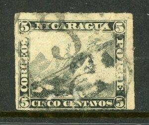 Nicaragua 1877 5¢ Black Momotombo Roulette w/Granada  Cancel L334