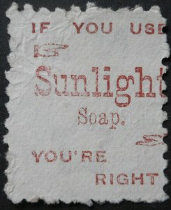 New Zealand 1893 Six Pence with Use Sunlight Soap in Brown Red ad SG 224be used