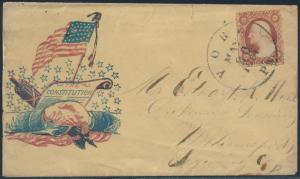 1861 #26 S.O.N. VF SCARCE CIVIL WAR PATRIOTIC COVER EARLY USAGE BS1180