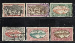 Guadeloupe #102-3, 110, 113, 115-6 used cv $3.00