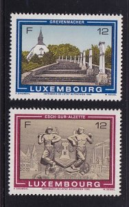 Luxembourg   #759-760   MNH   1986   stairs to chapel  bar-relief