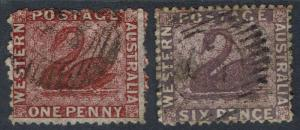 WESTERN AUSTRALIA 1863 SWAN SET 1D AND 6D NO WMK PERF 13 USED