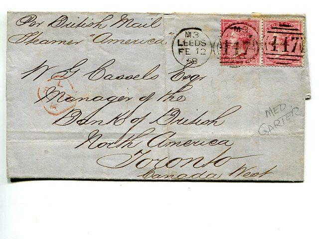 Great Britain #25 pair on cover by Steamer America to Toronto Cat $1350