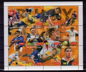 Sao Tome & Principe 2004 RUGBY PLAYERS Sheet+Labels Perforated Mint (NH)