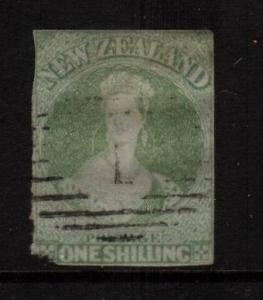 NEW ZEALAND FFQ 1/-  GREEN  FU IMPERF NO WMK SG6 CHALON