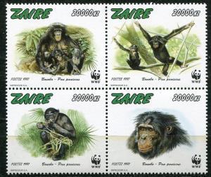 ZAIRE 1997 ENDANGERED CHIMPANZEES - WORLD WILDLIFE FUND MINT SET - $20 VALUE!