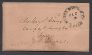 **US Stampless Cover, Middletown, CT 12/8/1855, Enclosure, Paid 3