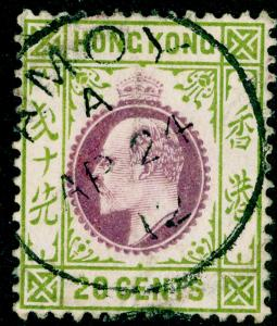 HONG KONG - BPOC SGZ90, 20c purple & sage-green, FINE USED, CDS. Cat £80. AMOY.