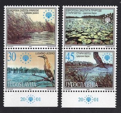 Yugoslavia   #2525-2526  2001  MNH nature protection  lakes