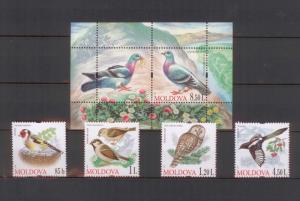 Moldova 2010 Birds 5 MNH stamps