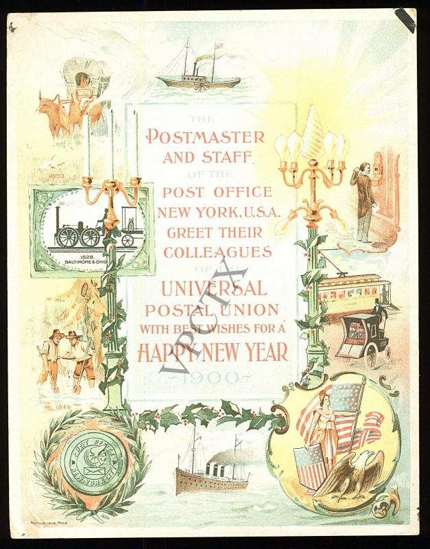 1900 new york postmaster staff new year card to member country of the upu