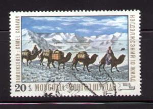 Painting, Camel, Caravan, by D. Damdinsuren, Mongolia SC#545