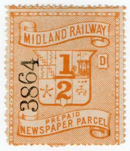 (I.B) Midland Railway : Prepaid Newspaper Parcel ½d