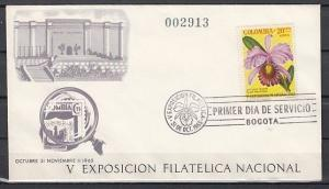 Colombia, Scott cat. C468. Stamp Expo issue with Orchid on a First Day Cover.