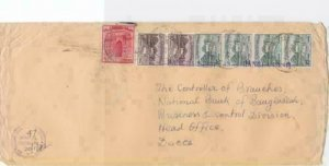 bangladesh early  overprint stamps on commercial stamps cover ref r15587