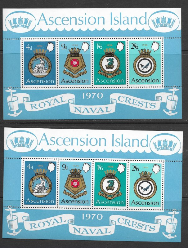 Ascension 137a MNH s/s x 2, f-vf, see desc. 2020 CV$ 24.00