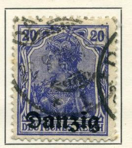 GERMAN DANZIG;  1920 ( June ) fine Optd issue fine used value 20pf.