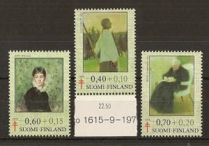 Finland 1975 TB Fund Paintings SG884-886 MNH