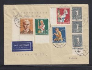 Germany 1958 Air Mail Cover to USA B362 - 365