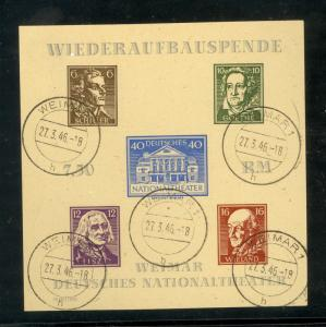 GERMANY USSR OCCUPATION THURINGIA 1946 THEATER SS UNWMK GRAY BROWN Paper FDOI