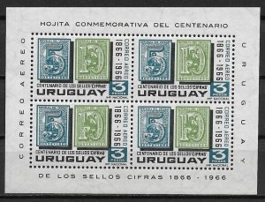 1966 Uruguay C309a Centennial of Numeral Stamps of 1866 MNH S/S