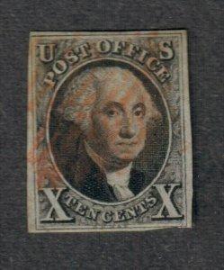 $US Sc#2 used, VF, red grid, tiny thin, CV. $775
