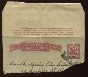 British Central Africa 1900 part used wrapper, H & G W1, very scarce,