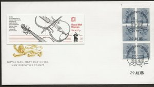 29/7/1986 £1.00 DISCOUNT -MUSICAL INSTRUMENTS -VIOLIN BOOKLET FDC