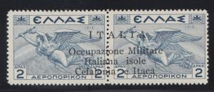 Ionian Islands Sc NC8b MLH. 1941 2d gray blue horiz pair Italian Occupation ovpt