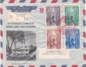 Surinam Scott B58-B61 Label address with some wrinkles.