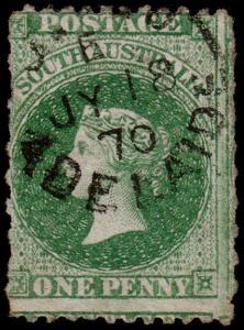 South Australia Scott 28 (1867) Used G-F, CV $72.50 M
