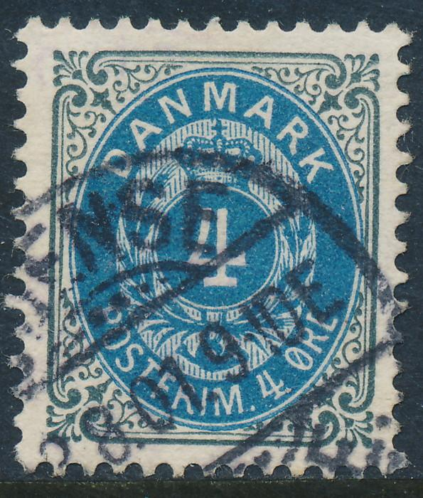 Denmark Scott 42a (AFA 23By), 4ø grey/blue Bicolour, VF Used