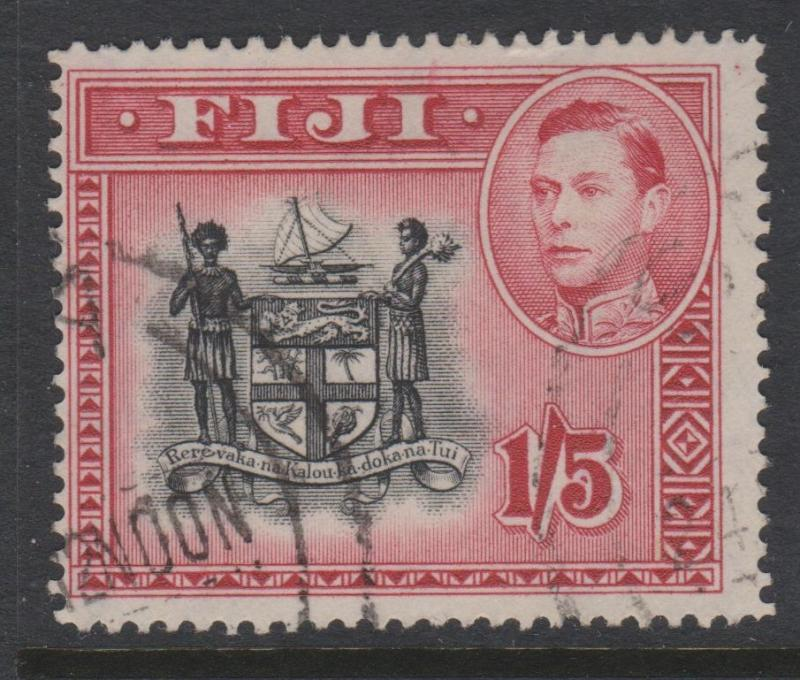 Fiji 1938 Definitives 1Shilling 5d Carmine and Black Sc#128 Fine Used
